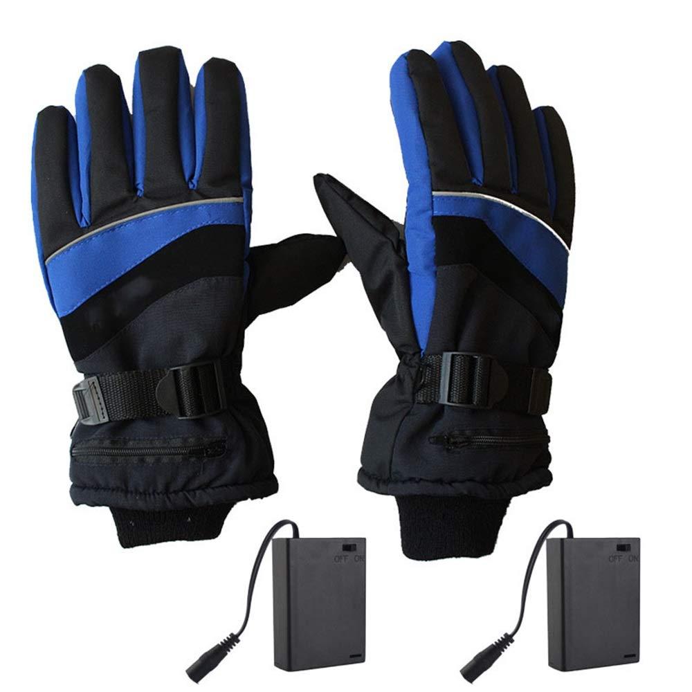 Dulan Beheizte Handschuhe for Männer Frauen elektrisch beheizt Handschuhe Batteriebetriebene Touchscreen Handschuhe Winter Ski-Fahrrad-Motorrad Schneeschuh (Size : L-Blue)