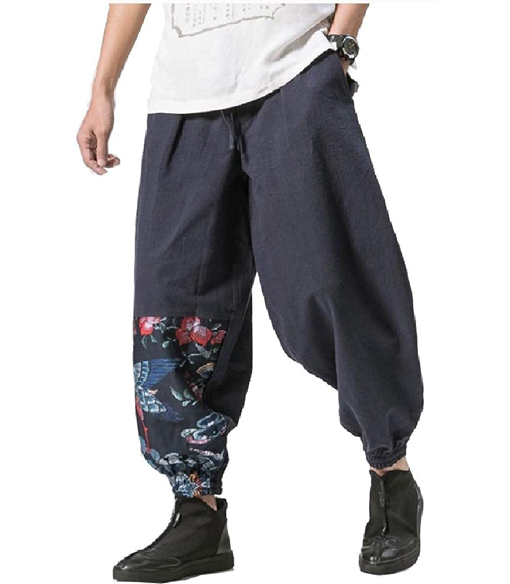Comaba Mens Patchwork Hippie Beam Foot Trousers Ethnic Style Harem Ankle Pants