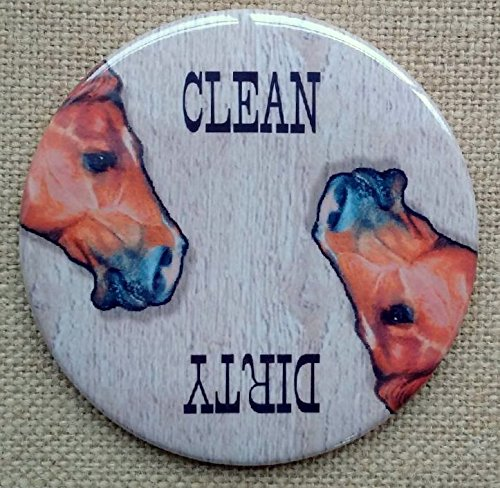 Big Magnet: 3.5', Dishwasher, Clean or Dirty Dishes, Horse Heads, Artwork of Horses