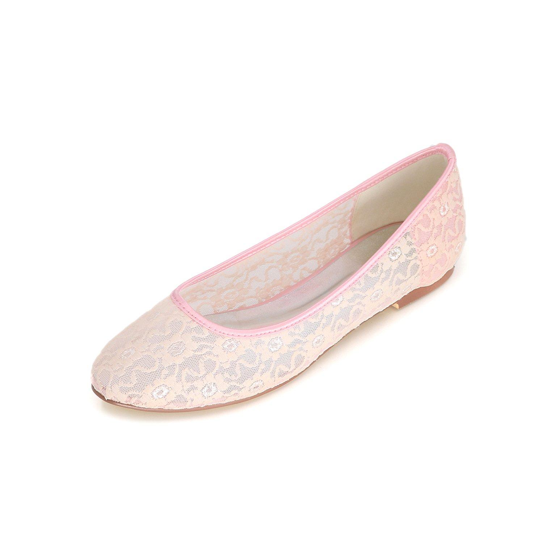 Flower-Ager 9872-19E Zapatos Planos De Encaje Nupcial De La Boda Correa De Tobillo De Las Señoras Resbalón En Los Zapatos De Ballet EU42|Pink