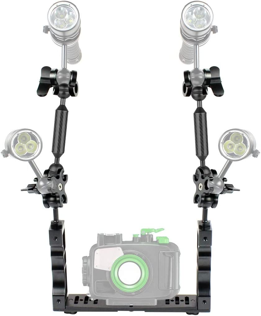 Color : Red Dual Handle Aluminium Tray Stabilizer with Dual Ball Aluminum Alloy Clamp /& Floating Arm for Underwater Camera Housings Reliable