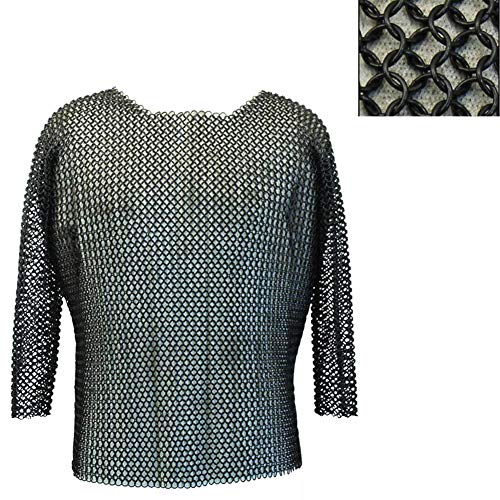 Brass Nautical - Medieval Chain Mail/Chainmail Shirt Full Size Chainmail Armor Medieval Costume LARP Black -