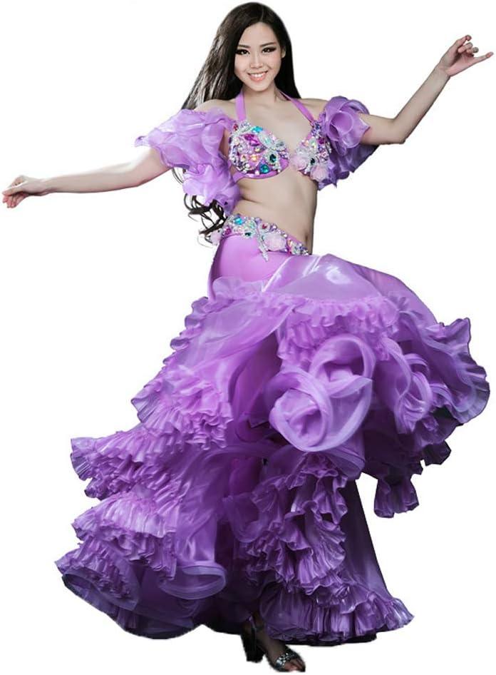 Danza del Vientre Falda Larga cinturón Sujetador Set Vestido ...