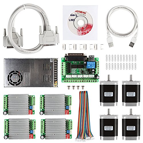 SainSmart CNC 4-Axis Kit with TB6560 Motor Driver, Paralle Interface Breakout Board, Nema23 270 Oz-in Stepper Motor and 24V Power Supply