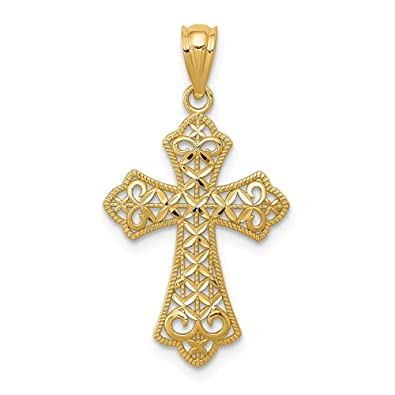 18b617c07 Amazon.com: 14k Yellow Gold Filigree Cross Religious Pendant Charm Necklace  Fleur De Lis Fine Jewelry Gifts For Women For Her: Jewelry