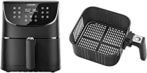 COSORI 5.8QT Electric Hot Oven Oilless Cooker, Black & Replacement 5.8QT Black CP158, CS158 & CO158 Air Fryers, Non-Stick Fry Basket, Dishwasher Safe, C158-FB
