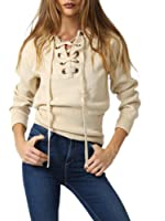 Simplee Apparel Women's Lace Up Drop Shoulder Ribbed Knitted Crop Sweatshirt Pullover Sweater