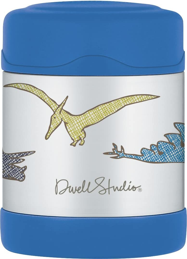 DwellStudio for Thermos, Vacuum Insulated FUNtainer Stainless Steel Food Jar, Dinosaur, 10 Ounce
