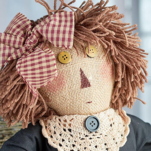 20 Inch Simple Primitive Burlap Rag Doll with Doily Collar and Yarn Hair for Displaying, Gifting and Decor