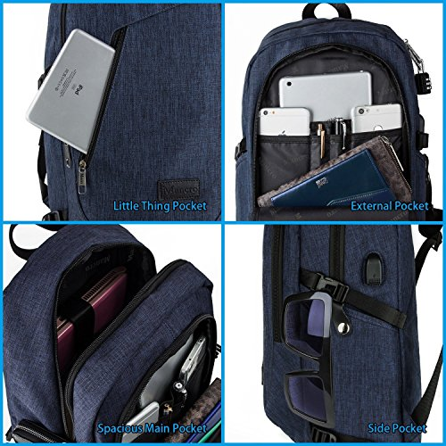 College Backpack Business Slim Laptop Backpack Mancro Anti-theft Water Resistant Computer ...