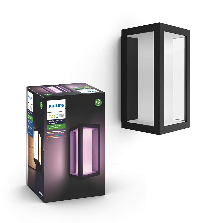 Philips Hue White and Color Ambiance LED Wandleuchte Impress (breit), für den Aussenbereich, dimmbar, bis zu 16 Millionen Farben, steuerbar via App, kompatibel mit  Alexa (Echo, Echo Dot)