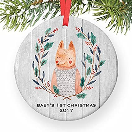 Amazon Com Christmas Tree Ornaments Cute Fox Baby S First 1st