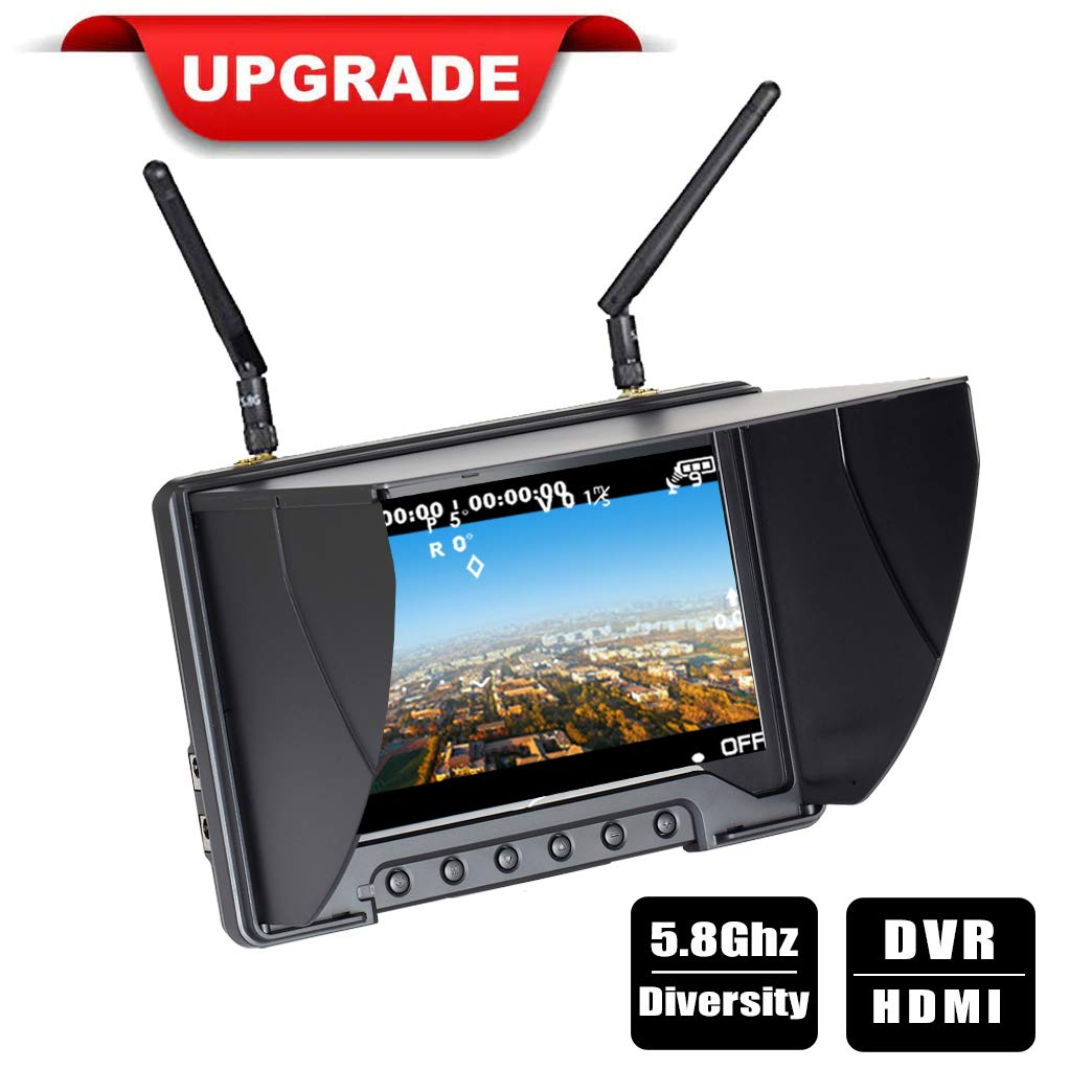Flysight Black Pearl Diversity Monitor RC801 FPV Monitor with DVR HDMI in 5.8Ghz 40CH 7inch FPV Screen Receiver Built in Battery with Sunshade Hood for RC Racing Drone DJI Phantom Airplane (SMA ANT)
