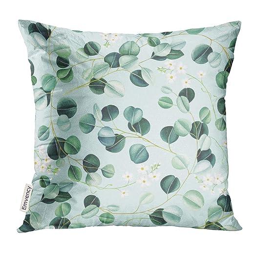 Cojín Esmeralda Verde con Hojas de eucalipto y pequeñas ...