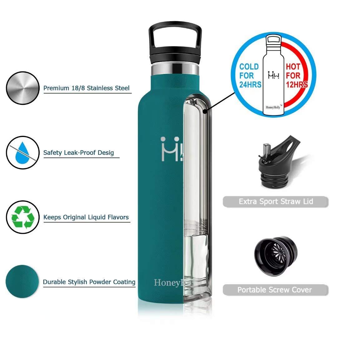 HoneyHolly Botella de Agua Acero Inoxidable sin BPA 350ml, Aislamiento de Vacío de Doble Pared, Botellas de Frío/Caliente, Botella Agua Reutilizable para ...