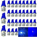 30-Pack 194 Blue LED Light 12V, AMAZENAR Car Interior and Exterior T10 5-SMD 5050 Chips Replacement For W5W 168 2825 Map- Dome- Courtesy- License Plate- Dashboard Side Marker Light