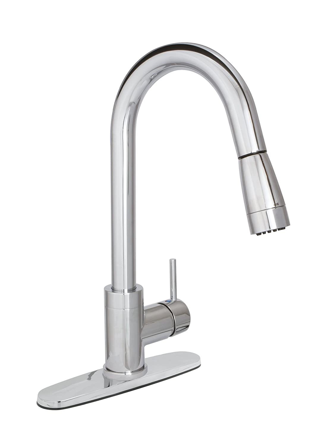 huntington brass pulldown kitchen faucet with sprayer and optional deck plate chrome touch on kitchen sink faucets amazoncom