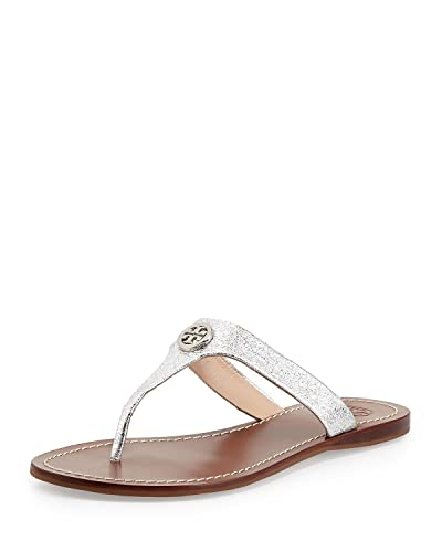 2fec05583d21fa Amazon.com  Tory Burch Flip Flop Sandals FLAT Cameron Thong Leather Gold  Metal TB Logo (6
