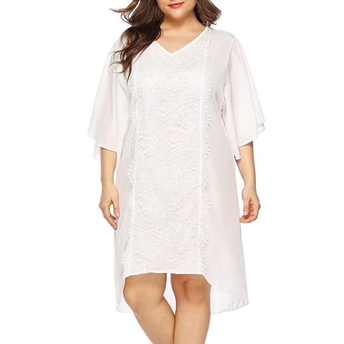 Amazon.com: Womens White Plus Size Dress Lace Ruffle Sleeve ...