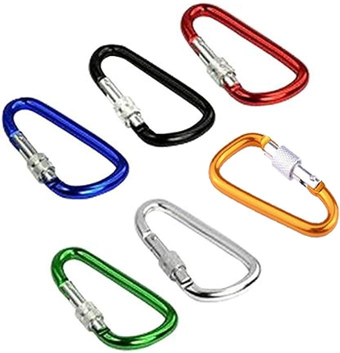 Xgeek 6 PCS 6 colores Aleación de aluminio D-anillo Alta resistencia Mosquetón de escalada con seguro para Acampar Senderismo