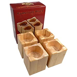 Tomokazu Ralston Solid Wood 3 Inch Sofa, Table, Bed Riser/Furniture Lifter (Set of 4)