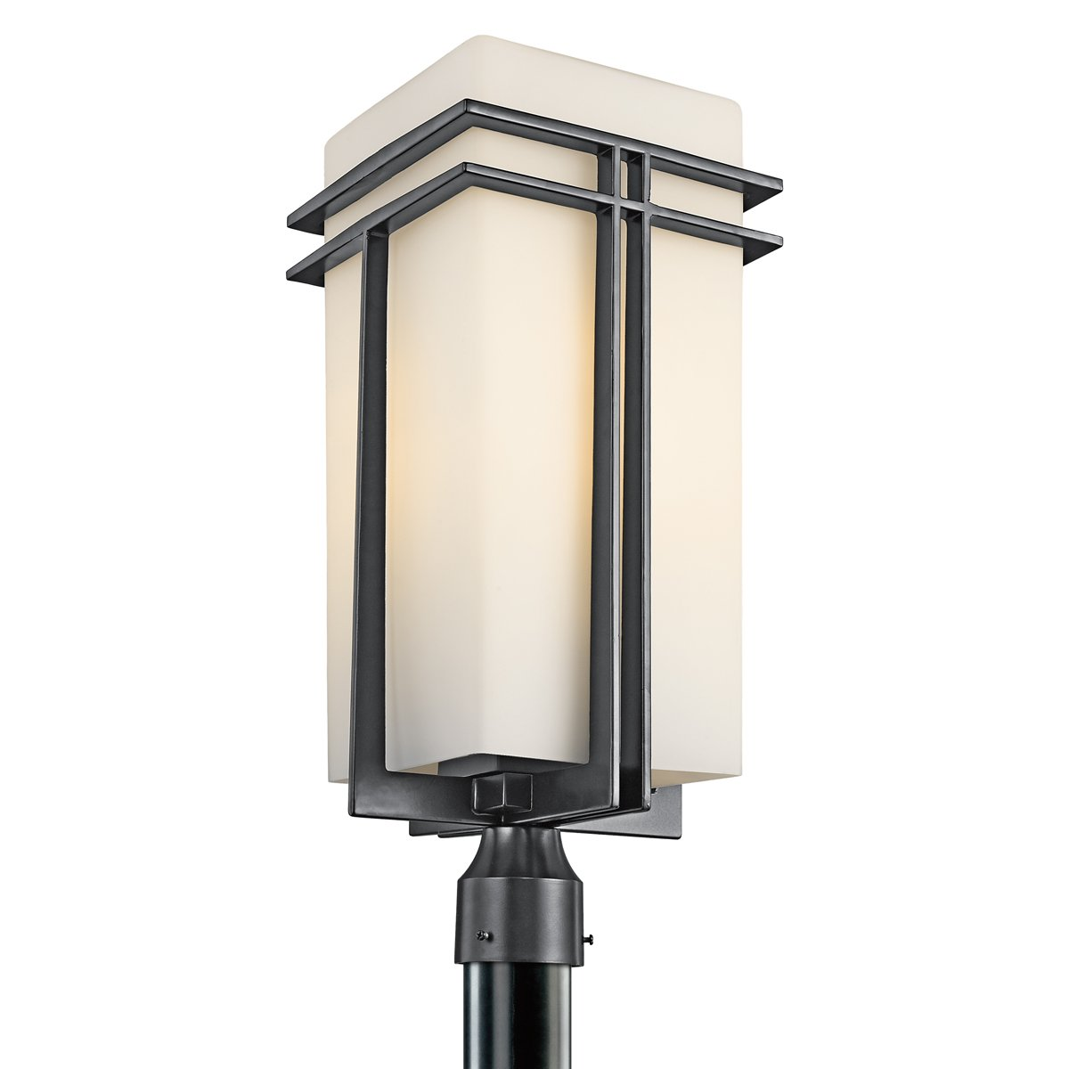 Kichler Lighting 49204BK Tremillo 23-Inch Light Outdoor Post Lantern, Black with Satin-Etched Cased Opal Glass