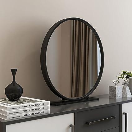 ZI LING SHOP- Specchio per Trucco Rotondo Rotondo Oro Nordico Desktop  Camera da Letto Tavolo da toeletta specchiera Specchio in Ferro Singolo  Specchio ...