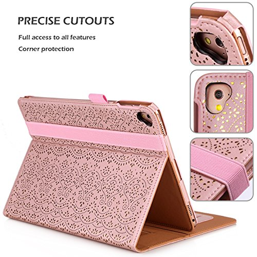 WWW iPad Pro 9.7 Case, [Luxury Laser Flower] Premium PU Leather Case Protective Cover with Auto Wake/Sleep Feature for Apple iPad Pro 9.7-inch Pink