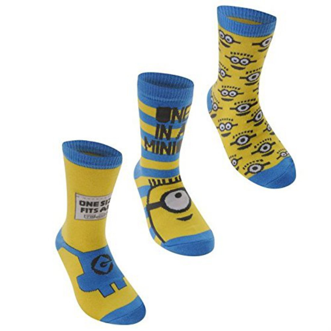 Character Kids Me Crew Socks Childs Boys Set of Three Despicable Me Designs