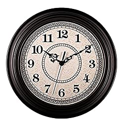 Filly Wink 12 Inch Retro Wall Clock Battery Operated Silent Non Ticking Round Imitation Wood Classic Quartz Wall Clocks for Home,Kitchen,Living Room,Bedroom,Office Black