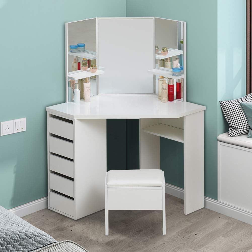 bianco per camera da letto Tavola in truciolato 114*61*140cm Set di specchietti angolari con 5 cassetti in legno per trucchi e sgabello UV