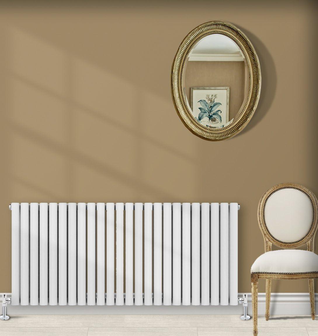 Simple Home | 635 x 1416 mm Radiador diseño Borvo brillante blanco horizontal panel soltero oval