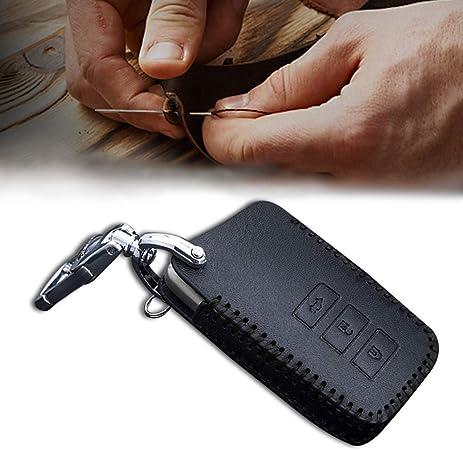 Cobear Schlüssel Hülle Leder Auto Schlüsseltasche Mit Schlüsselanhänger Für 3 Tasten Keyless Go Fernbedienung Autoschlüssel Schwarz Nähen 1 Stück Auto