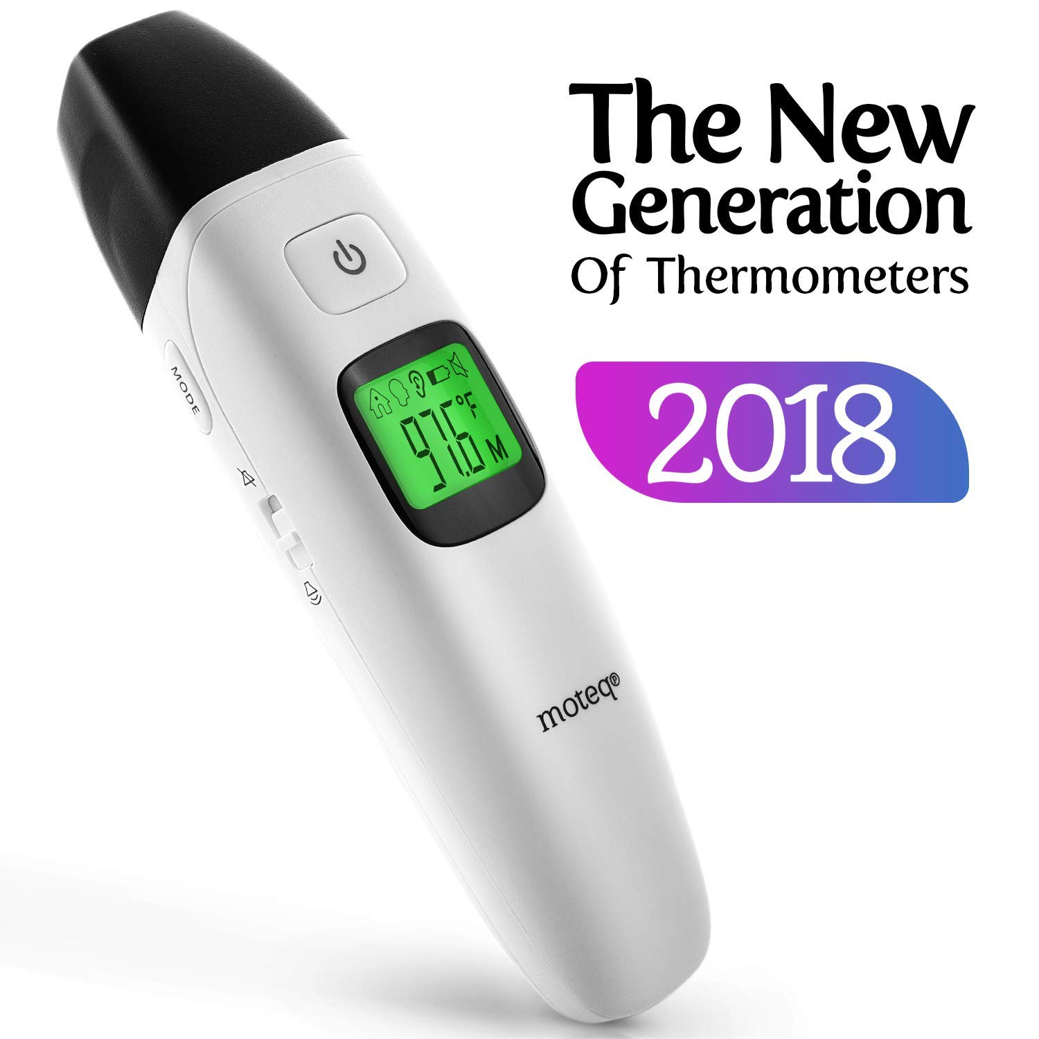 Baby Thermometer Infrared - [Upgrade 2018] 5-in-1 Ear - Forehead/Object / Liquids/Room- Fever Alarm - Instant Reading- Accurate - Baby/Gentile - Hygienic - Medically Proven CE/FDA JPD-FR408