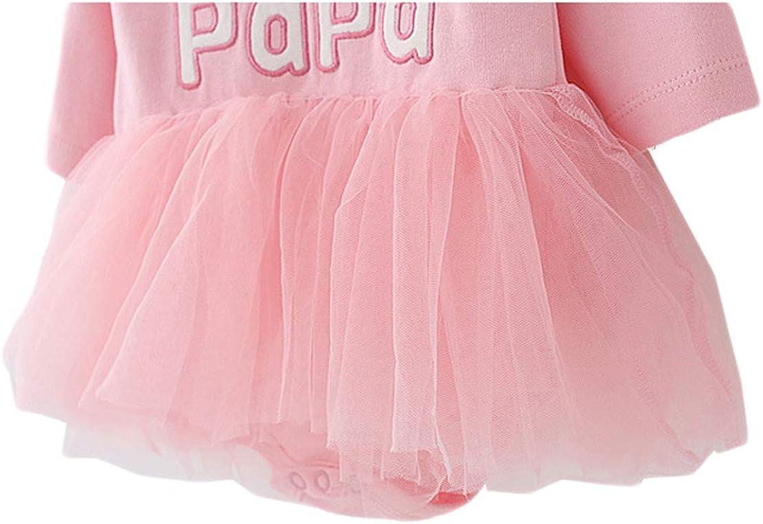 Baby Strampler I Love Papa//Mama Prinzessin Kleid M/ädchen Bodykleid Neugeborene Langarm Overall Tutu Taufanzug mit M/ütze Herbst 3-9 Monate