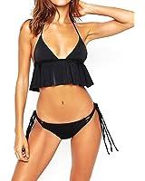 Women Halter Deep V-neck Two Pieces Swimsuit Soft Bikini Set with Tassels