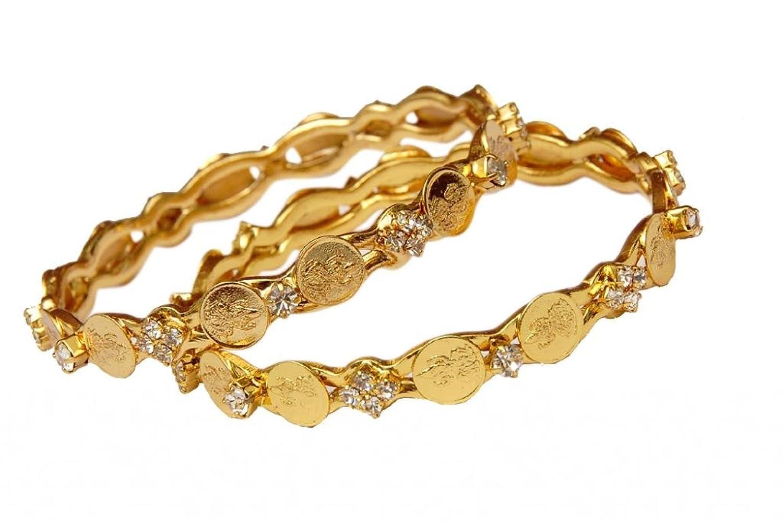 Buy Jewbang White Stone Gold Bangles 26 Size For Women-JB021 ...