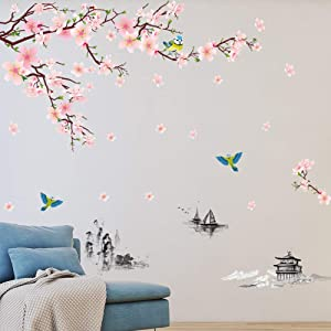 EANUR Wall Stickers Peel and Stick Flowers Wall Decals Removable Vinyl Decor Wall Art for Living Room Bedroom Classroom Office Foyer Etc Decoration (Pink A)