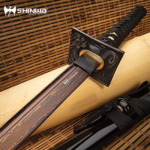 Shinwa Black Knight Handmade Katana/Samurai Sword - Hand Forged Black Damascus Steel - Razor Sharp, Full Tang - Fully Functional, Battle Ready, Ninja Sleek - Faux Ray Skin, Cord Wrap, Dragon Tsuba