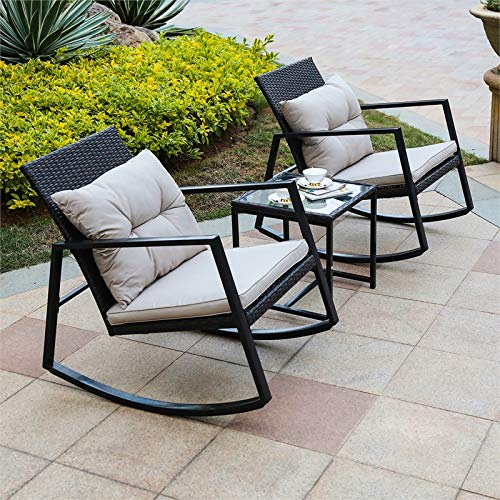Winsome House 3 Piece Iron and Wicker Patio Rocking Conversation Set ()