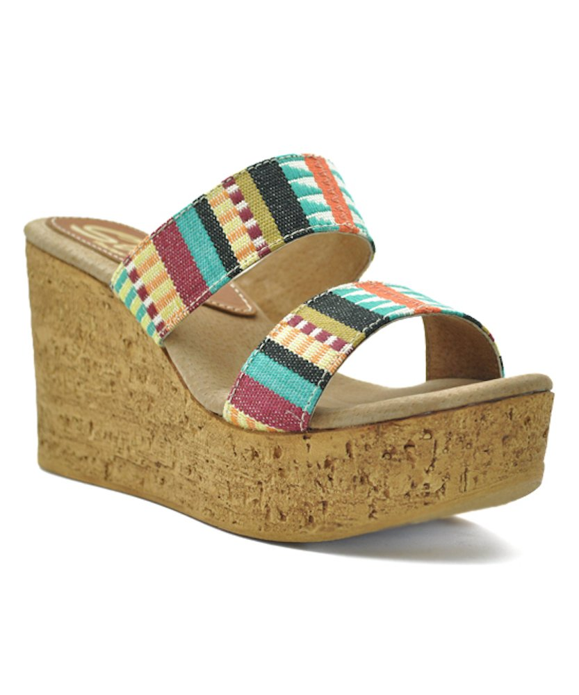 Sbicca Women's Keisha Wedge Sandal B015UOZHCG 8 B(M) US|Teal/Multi