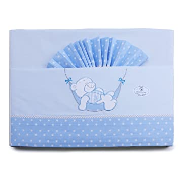 PEKITAS Baby Bedding Set Flannel Set 3 Pieces Cot 60 x 120 100/% Cotton Made in Portugal Blue-White cot 60x120
