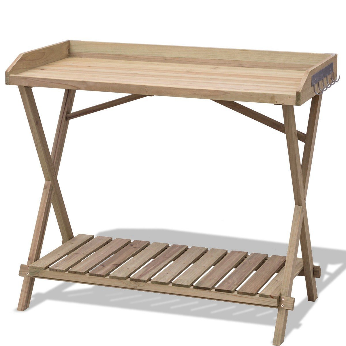 Wood Potting Bench Table Plant Stand W/ Hook Garden Lawn Patio With Ebook