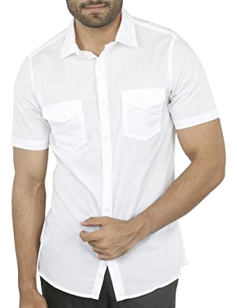 055e13d487 Image Unavailable. Image not available for. Colour: Aady Jones White Double  Pocket Slim Fit Solid Men's Half Sleeves Cotton Casual Shirt