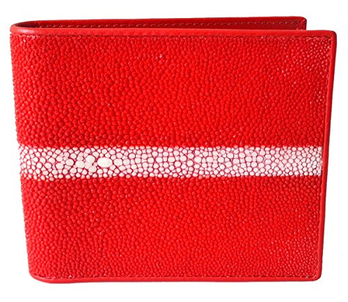 Authentic Stingray Skin Men's Bifold White Pearl Row Red (Red Mens Wallet)