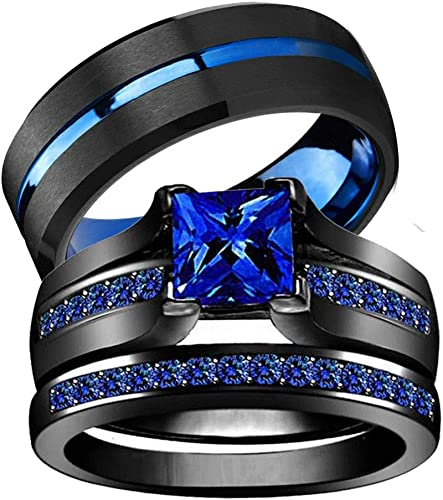 Iou His Hers Wedding Ring Sets Couples Rings Women S Black Gold