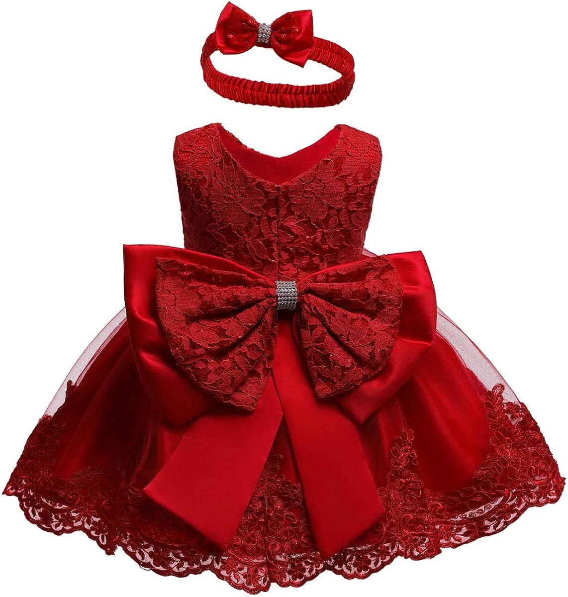Vestido de Bautizo + Diadema Recién Nacido Bebés sin Mangas Verano Transpirable Traje de Ceremonia Boda para Niñas Vestido de Princesa Elegante con Lazos Cumpleaños