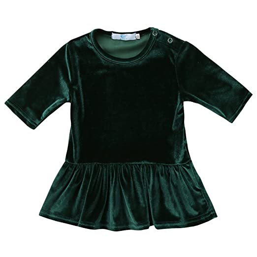 ec57f2c8246a Canis Kids Baby Girls Vintage Style Half Sleeve Velvet Swing Dress  Top/Skirt Outfit Set