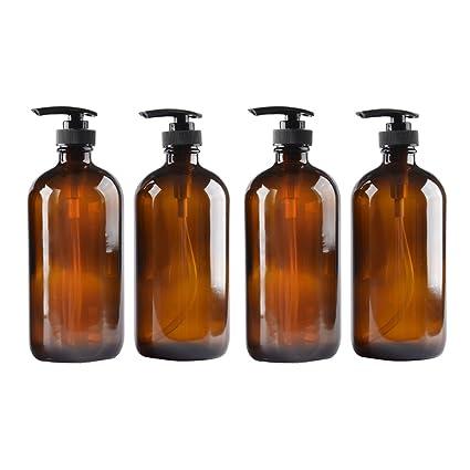 40cef15297de 4 pack Amber Glass Bottle Bottles with Plastic Pump.Eco-friendly 8oz 8 oz  Refillable Bottle for Cooking Sauces,Essential Oils,Lotions,Liquid Soaps or  ...