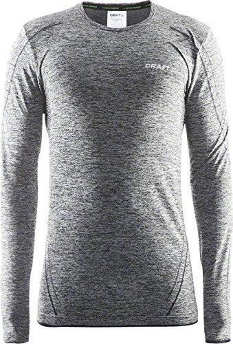 Craft Sportswear Men's Long Sleeve Active Comfort Roundneck Base Layer Seamless Shirt, Black, Large